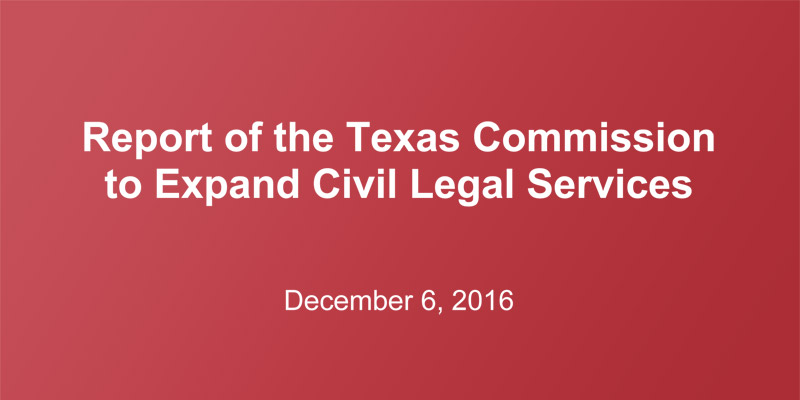 "The ""creation of pipelines"" recommended by Texas Commission to Expand Civil Legal Services"
